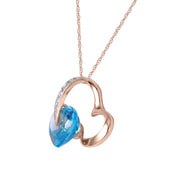 Ladies 14K Rose Gold HEART NECKLACE WITH NATURAL DIAMONDS & BLUE TOPAZ - Fashion Strada