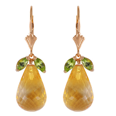 Ladies 14K Rose Gold Lever Back Earrings with Peridots & Citrines - Fashion Strada