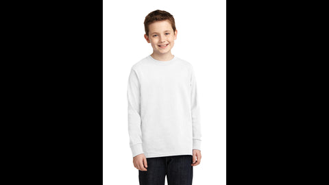 White Youth Long Sleeve Cotton T-shirt