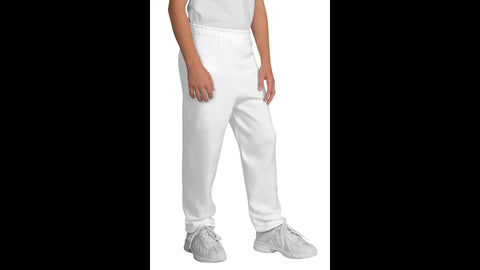 Youth White Sweatpants with Pockets