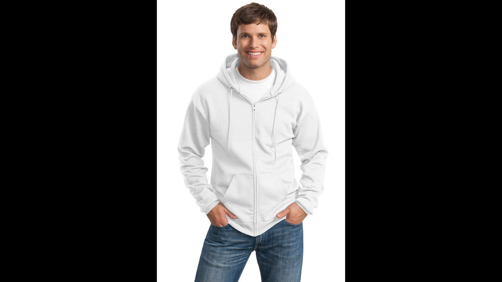White Hooded Full-Zip Sweatshirt