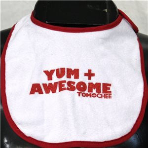 White with Red INFANT Bib with Yum + Awesome logo