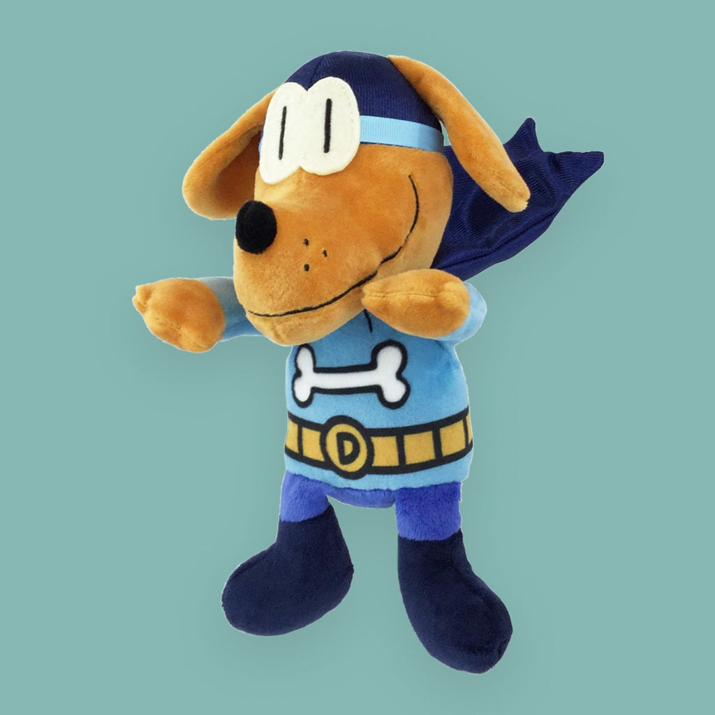 "MerryMakers 9"" Dog Man's Bark Knight Doll and Book Set from Dav Pilkey's book series"