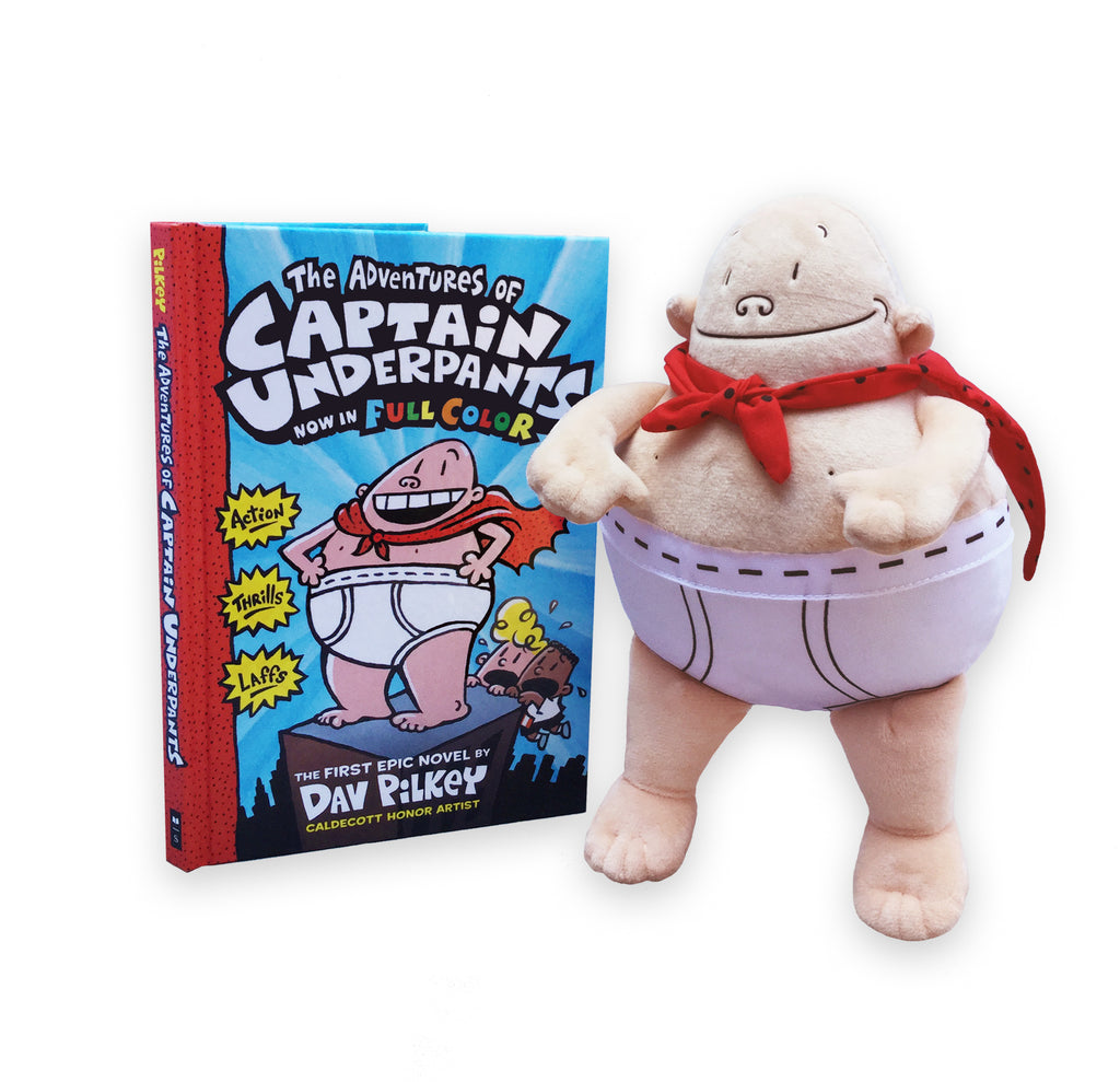 "MerryMakers 10"" Captain Underpants Doll and Book Set based on the Captain Underpants books by Dav Pilkey"