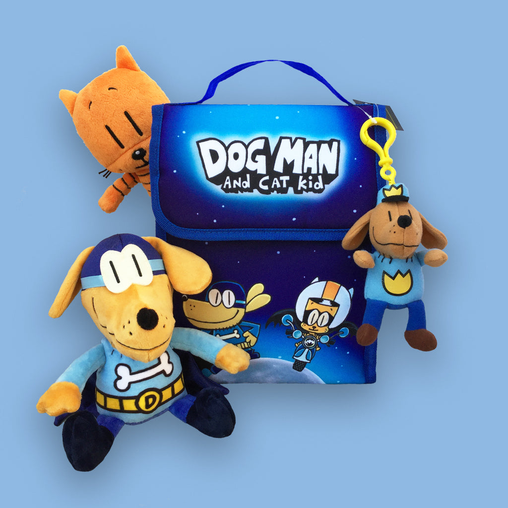 MerryMakers Dog Man and Cat Kid Toy and Bag Gift Set from the Dog Man books by Dav Pilkey