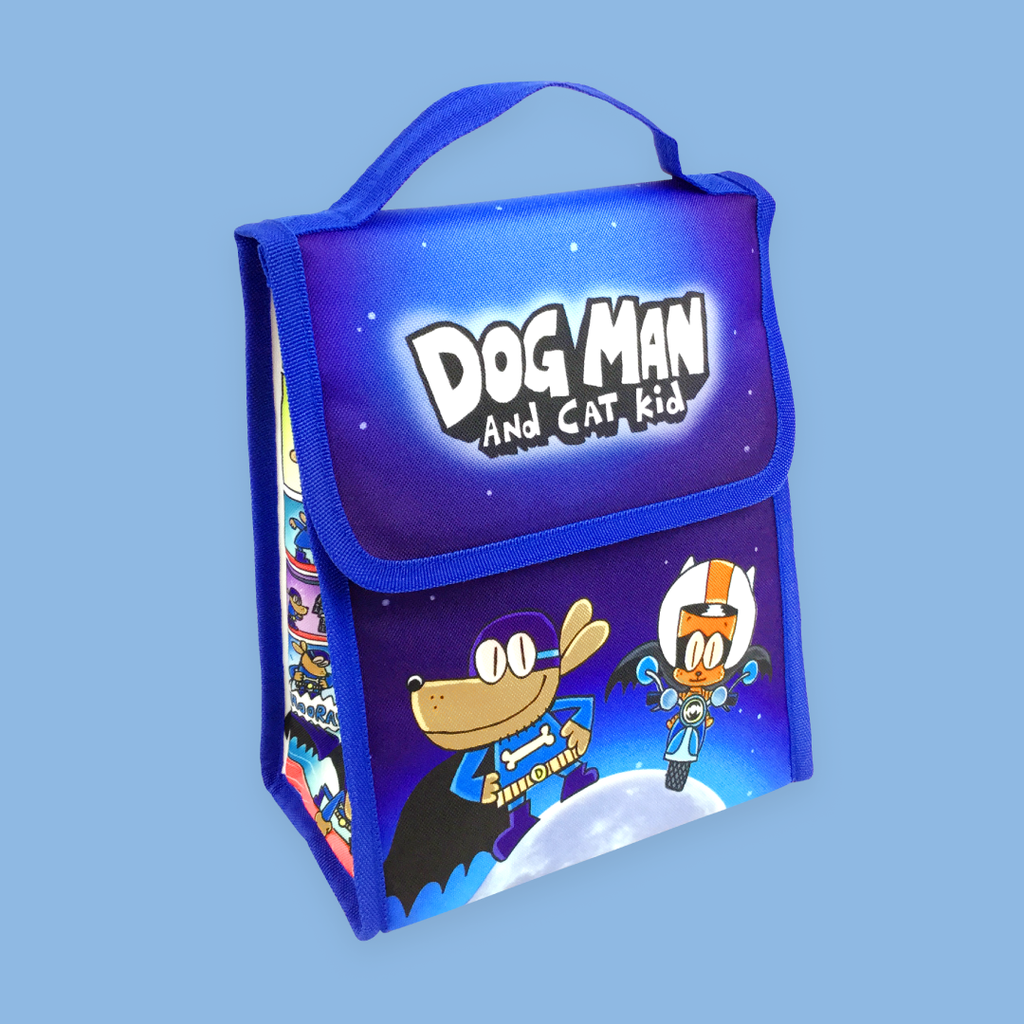 MerryMakers Dog Man and Cat Kid Lunch Bag based on the books by Dav Pilkey