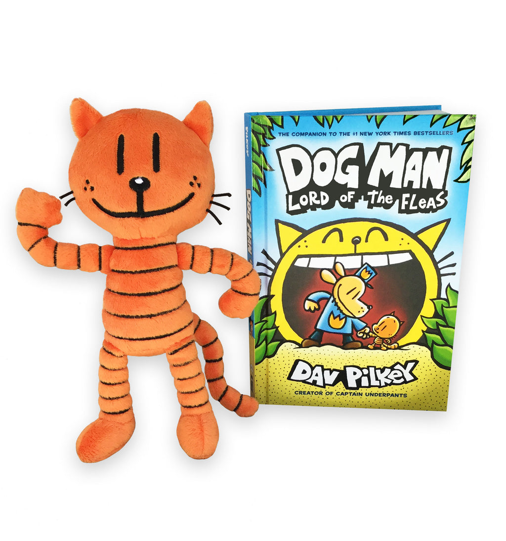 "MerryMakers 9"" Dog Man's Petey Doll and book, based on the bestselling books Dog Man Lord of the Fleas by Dav Pilkey"