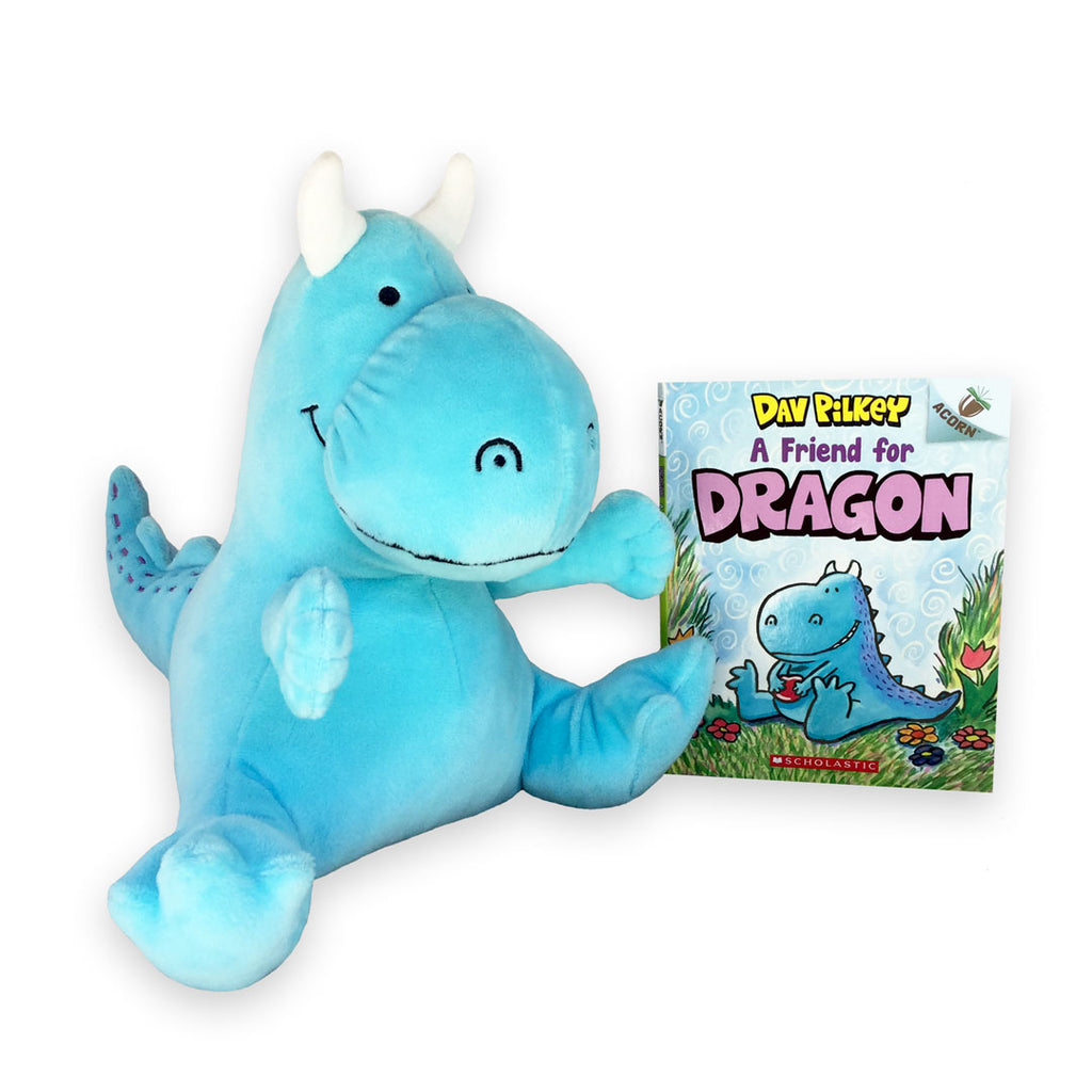 "MerryMakers 10"" Dragon Doll and Book GIft Set from Dav Pilkey's Book Series A friend for Dragon"