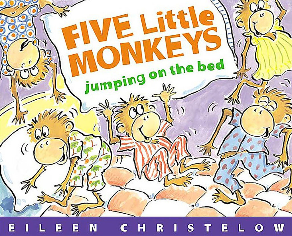 "MerryMakers 5"" Five Little Monkeys Finger Puppet Playset and Book Set, based on the book by Eileen Christelow"