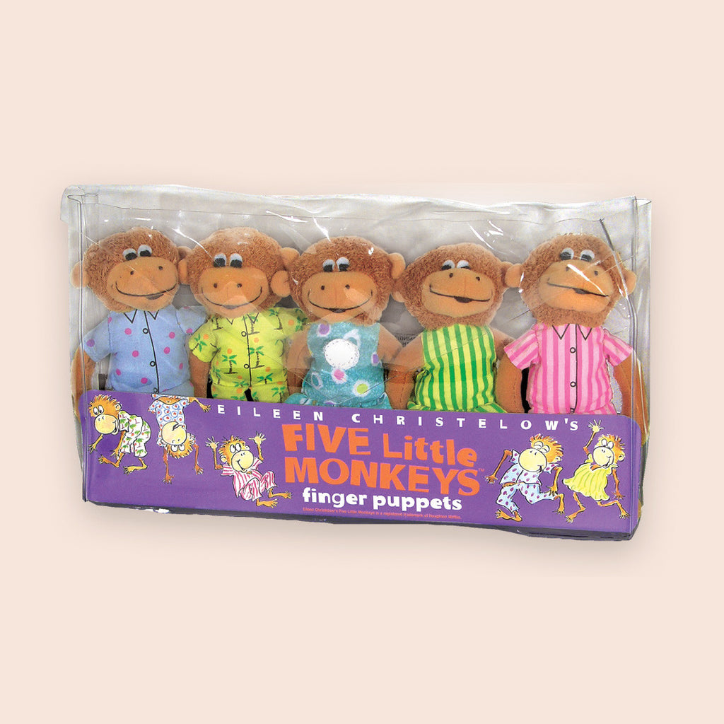 "MerryMakers 5"" Five Little Monkeys Finger Puppet Playset, based on the book by Eileen Christelow"