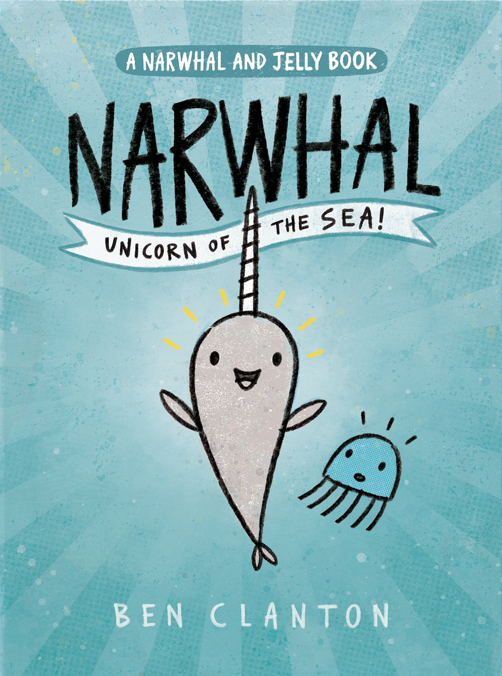 "MerryMakers 7.5"" Narwhal and 3"" Jelly Finger Puppet Set and Book, based on the book by Ben Clanton"