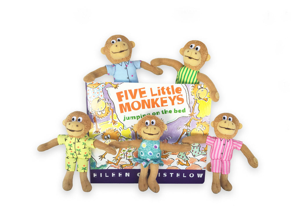 "MerryMakers 5"" Five Little Monkeys Book and Puppet set by Eileen Christelow"