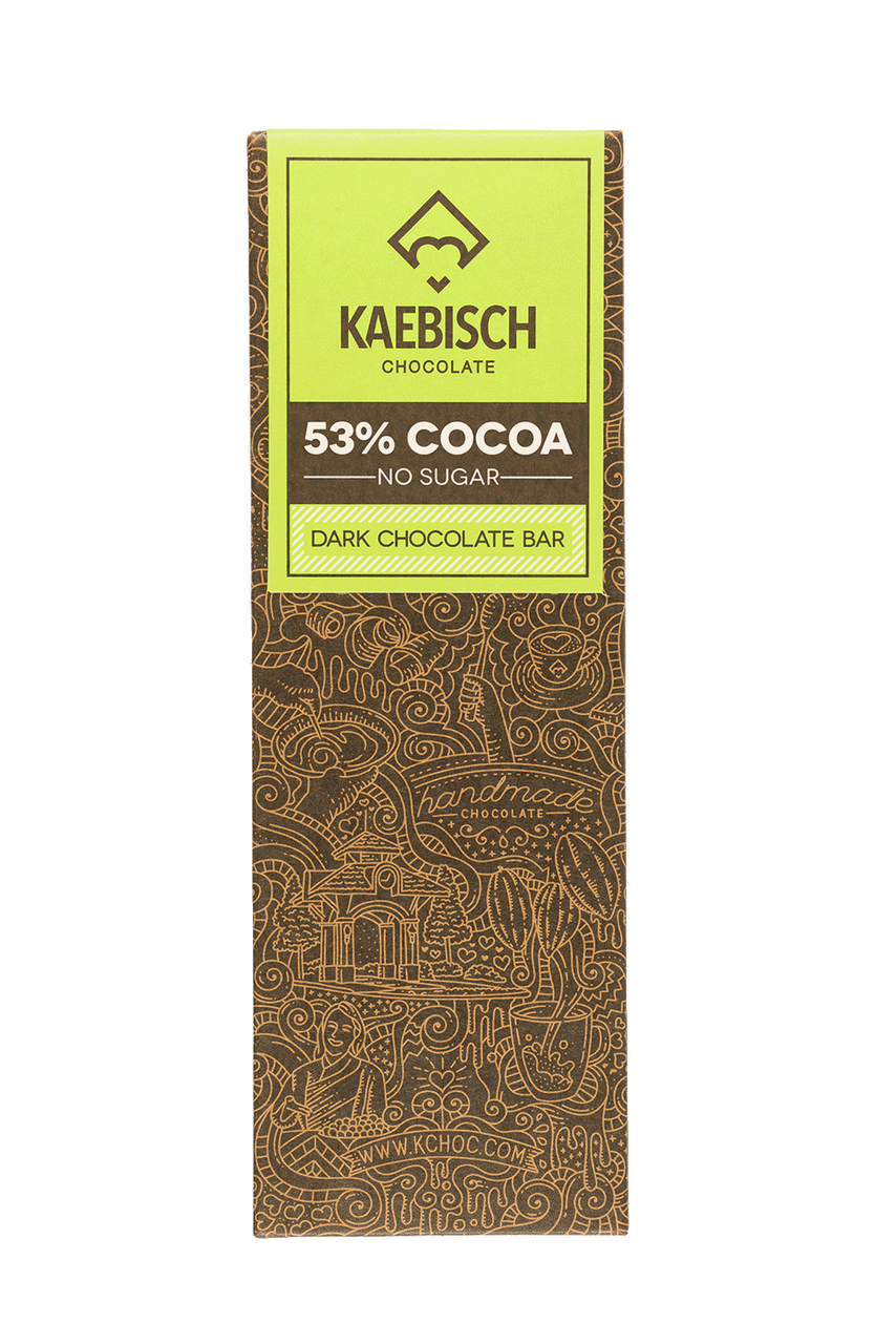 Kaebisch 53% No Sugar Cocoa Chocolate Bar