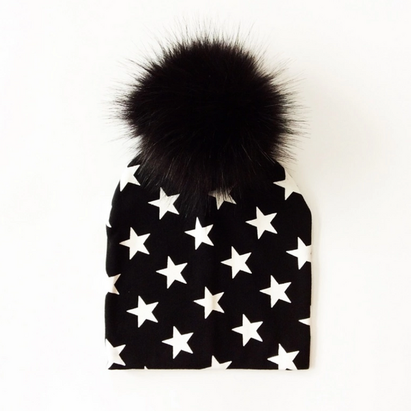 Kids Black with White Stars Pom Pom Beanie Hat
