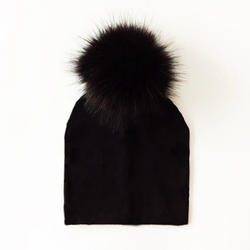 Kids Black Pom Pom Beanie Hat
