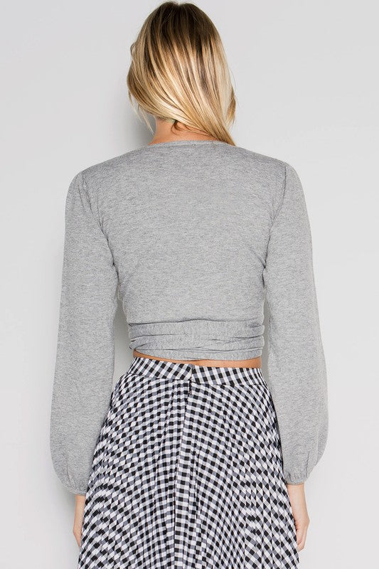 Grey Front Wrap Sweater