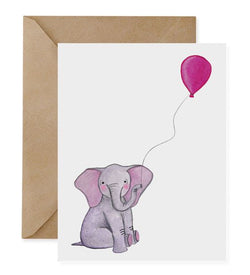 Elephant Pink Balloon Card