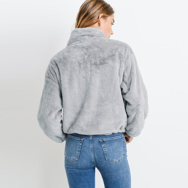 Grey Furry Zip Jacket