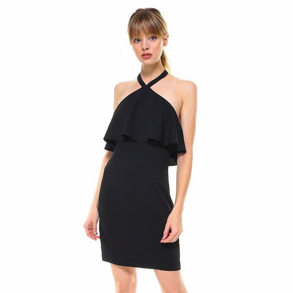 Black Crepe Halter Dress