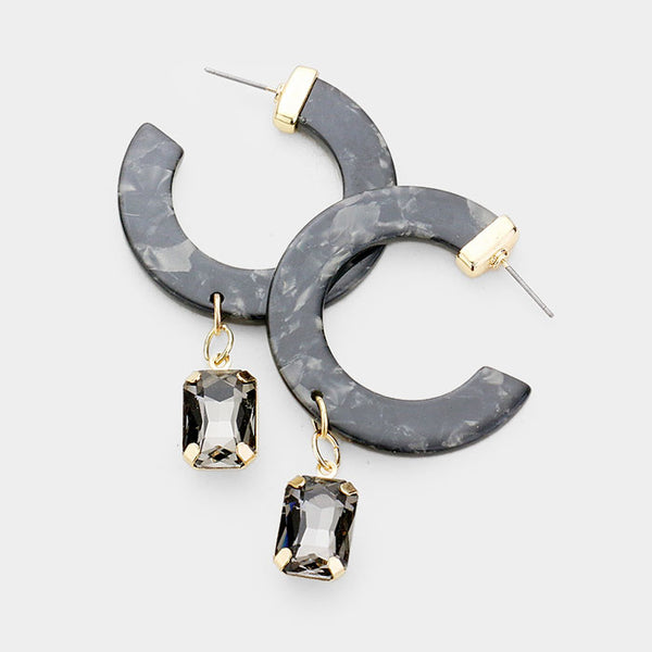 Black Cut Out Round Acetate Crystal Earrings