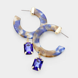 Blue Cut Out Round Acetate Crystal Earrings