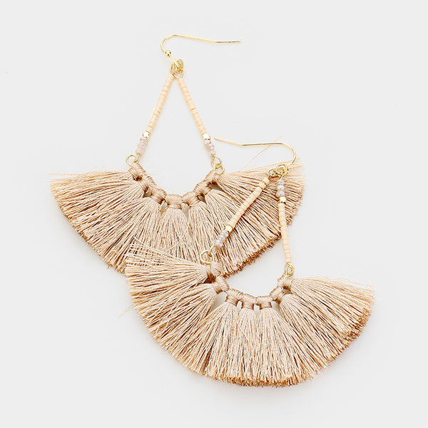 Gold Beaded Teardrop Tassel Fringe Earrings