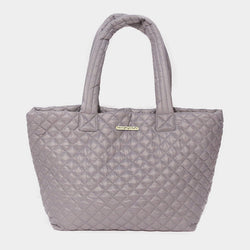 Grey Quilted Large Tote