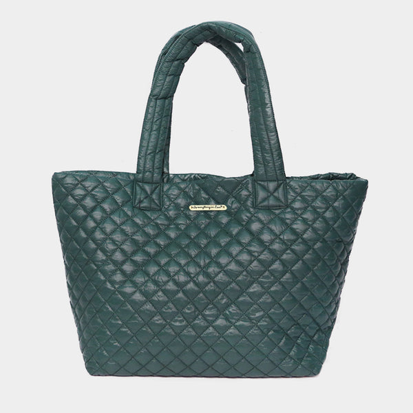 Hunter Green Quilted Large Tote