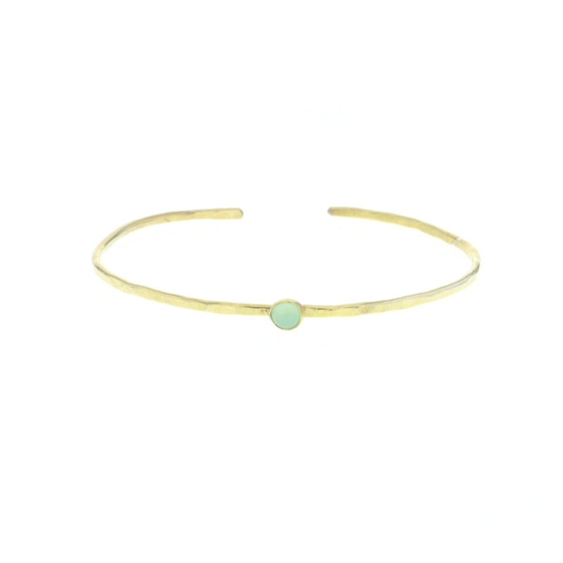 Gold Hammered Opal Stone Stacking Bangle