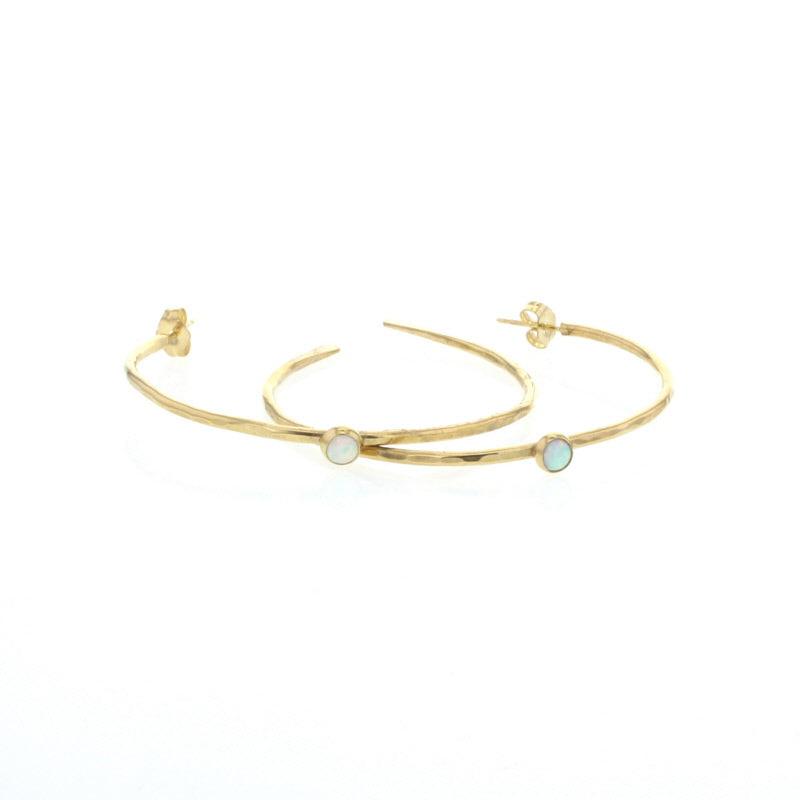 Opal Stone Gold Hoop Earrings