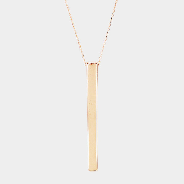 Rose Gold Metal Bar Necklace
