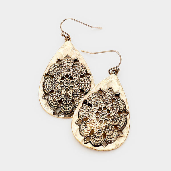 Hammered Metal Filigree Dangle Earrings