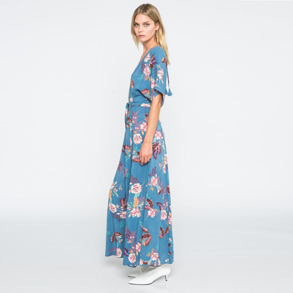 Blue Stone Flower Maxi Dress