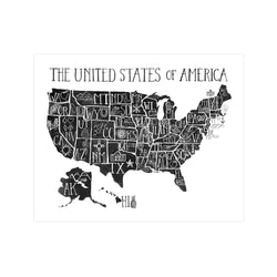 USA Black & White Print