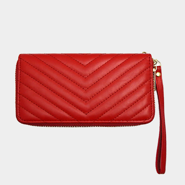 Red Quilted Leather Wallet