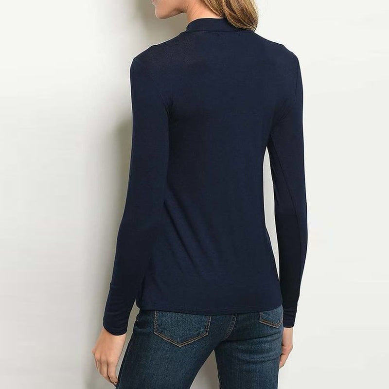 Navy Keyhole Neck Top