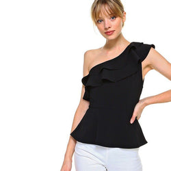 Black One Shoulder Peplum Top