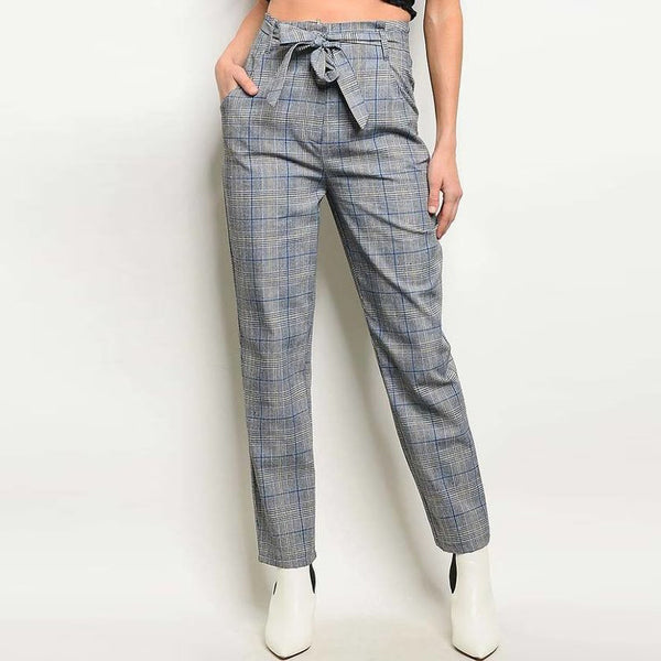Grey/Blue Waist Tie Check Pants