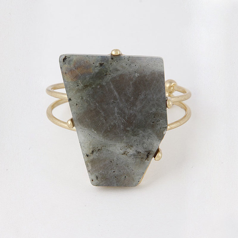 Gold Gray Stone Gypsy Bracelet