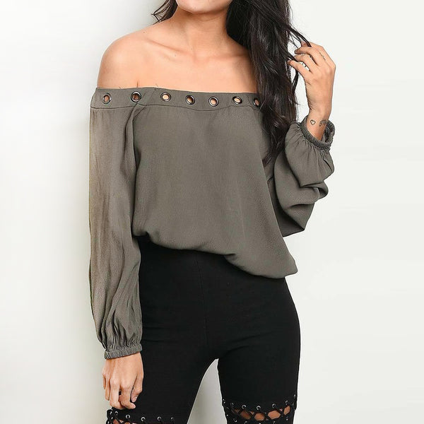 Olive Long Sleeve Stud Top
