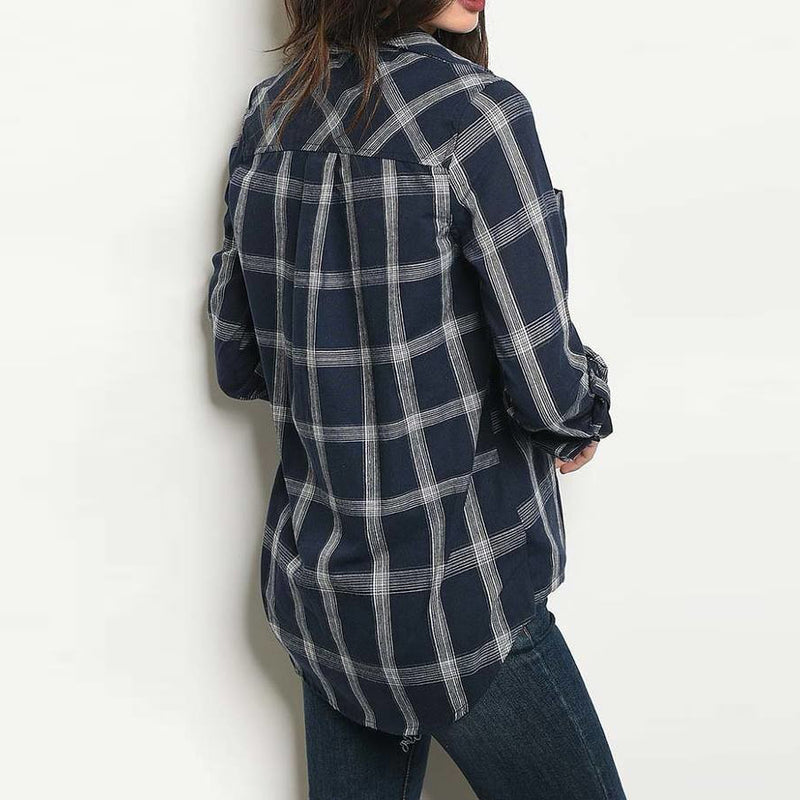 Navy & White Plaid Shirt
