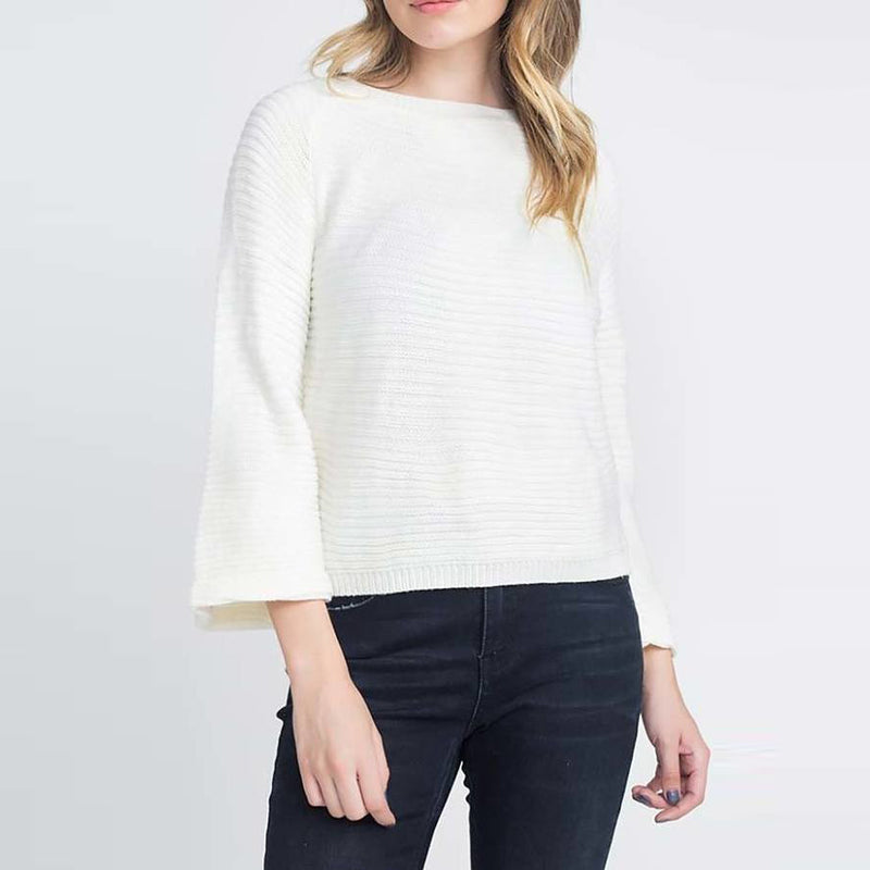 Off White Boat Neck Bell Sleeve Sweater