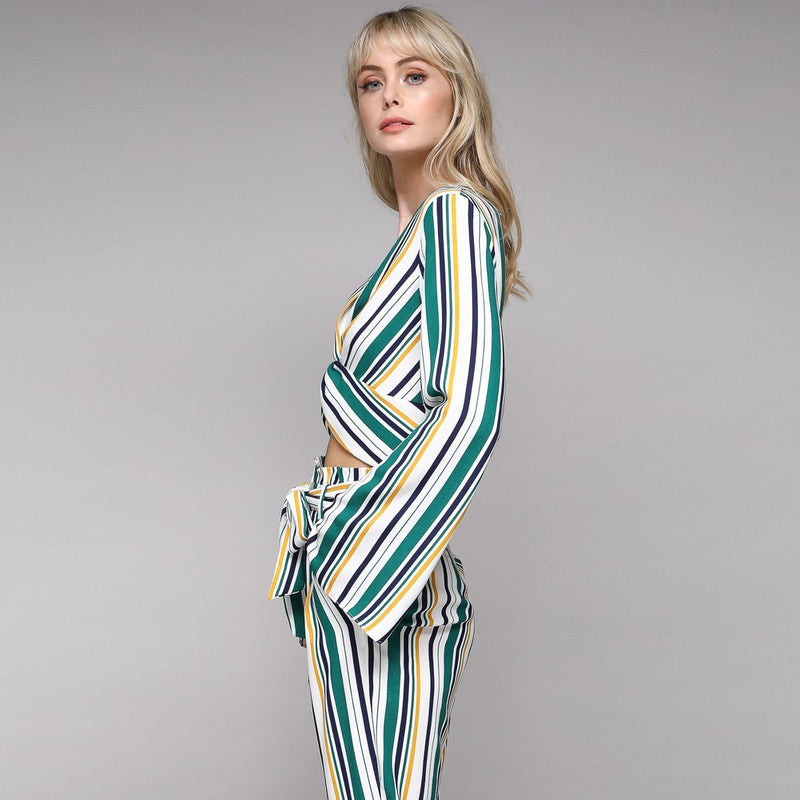 Green Mustard White Stripe Top