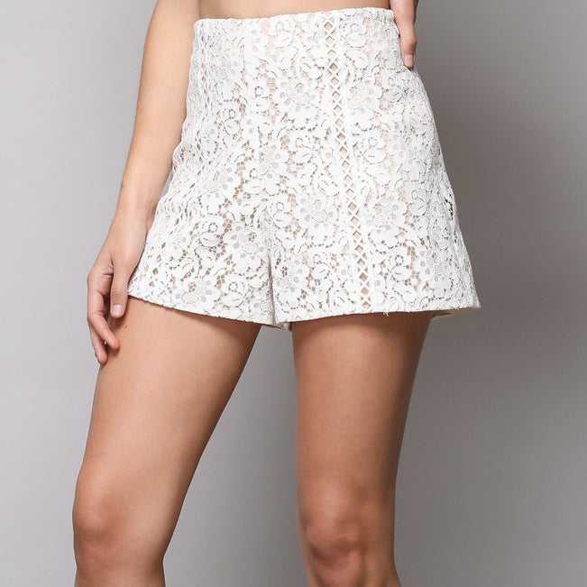 Off White Woven Lace Shorts