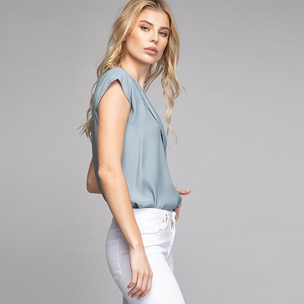 Storm Blue Cap Sleeve Top