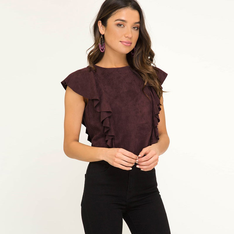 Dusty Mauve Faux Suede Top