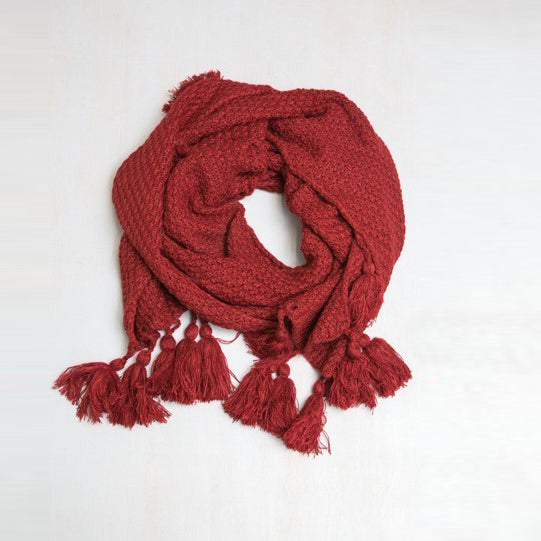 Burgundy Long Knit Scarf with Fringe