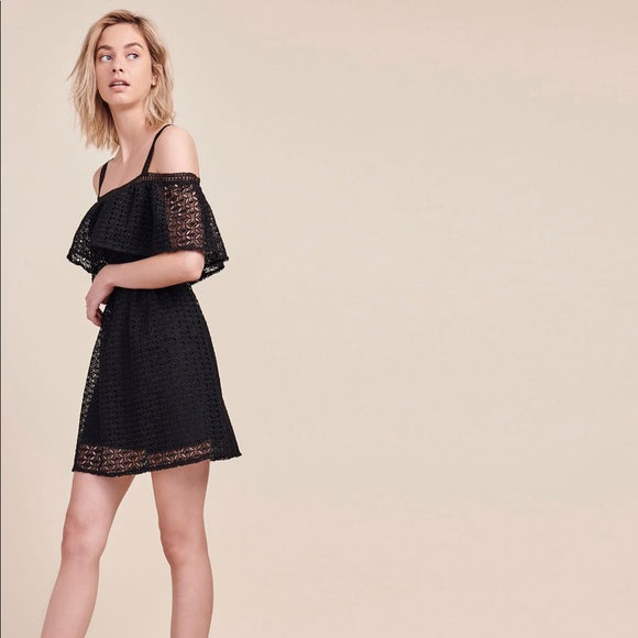 Black Aitana Lace Halter Dress