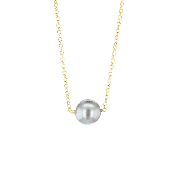 Gold Pearl Solitaire Necklace