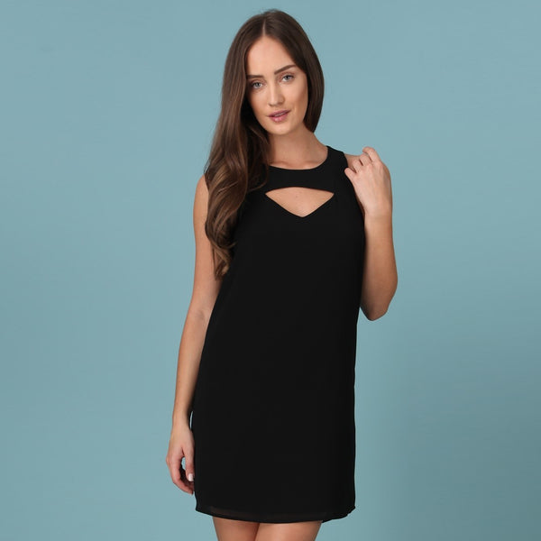 Black Cut Out Zipper Dress
